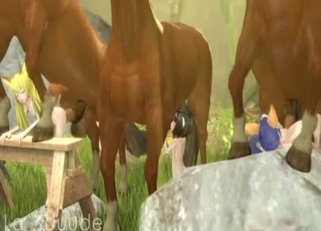 Aesthetic 3D animal porn with horses